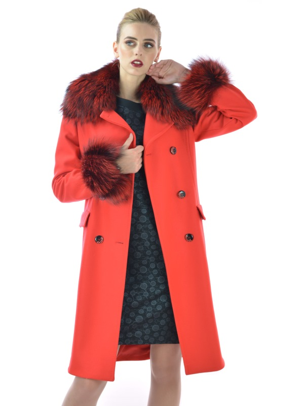 LADY M - Womens coat red with natural fox fur - Maria fashion company - Marija modna odjeca Collection Autumn/Winter 2017-18