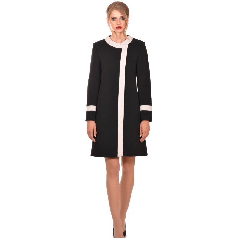 Lady M Womens black white coat wool cashmere - Lady M Marija modna odjeća - Maria Fashion company - Collection Autumn/Winter 2018-19