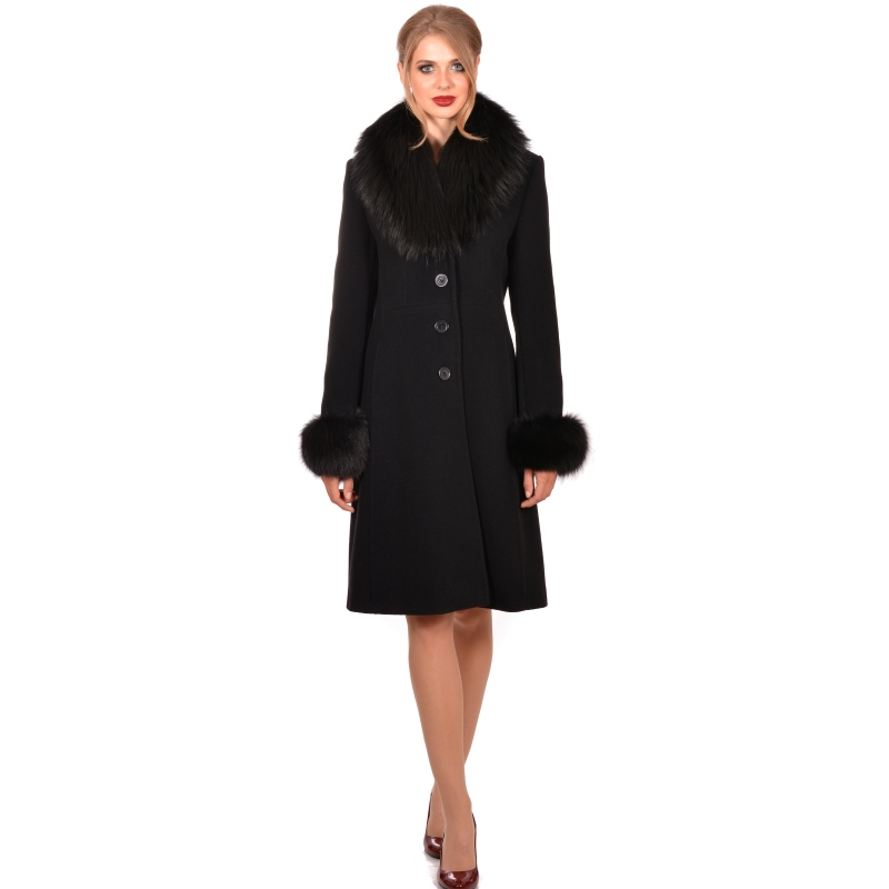 Lady M Womens elegant black wool coat with fur - LADY M Marija modna odjeća - Maria Fashion company - Collection Autumn/Winter 2018-19