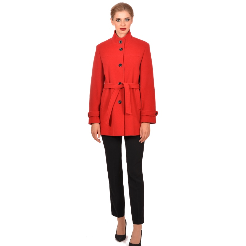 Womens red modern coat made of wool - M WOMAN Marija modna odjeća - Maria Fashion company - Collection Autumn/Winter 2018-19
