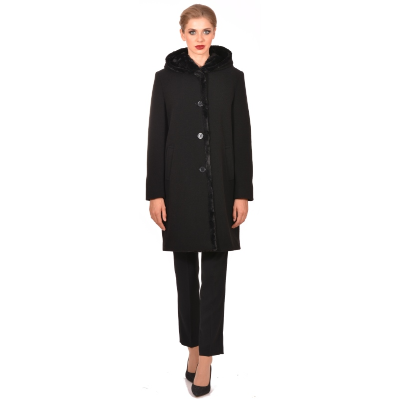 Womens black coat made of wool - M WOMAN Marija modna odjeća - Maria Fashion company - Collection Autumn/Winter 2018-19