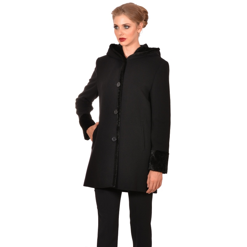 Womens short black coat - M WOMAN Marija modna odjeća - Maria Fashion company - Collection Autumn/Winter 2018-19