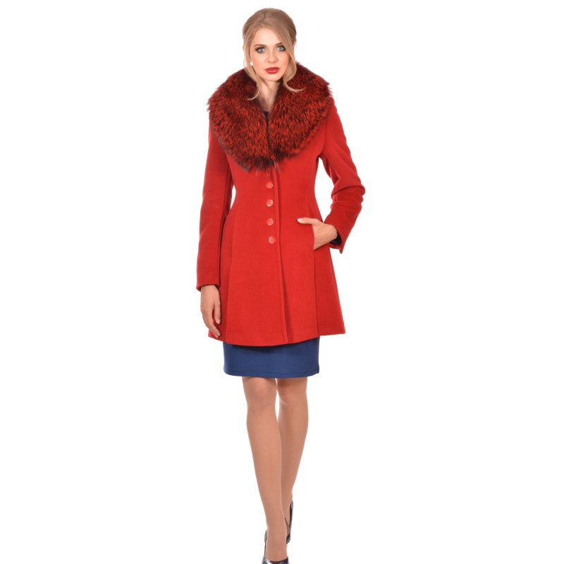 Womens red coat wool and cashmere with natural fur - Lady M Marija modna odjeća - Maria Fashion company - Collection Autumn/Winter 2018-19
