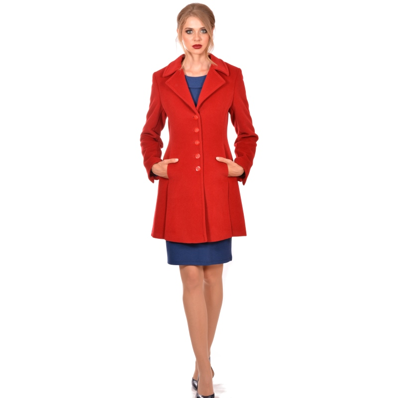 Womens red coat wool and cashmere with natural fur - Lady M Marija modna odjeća Kolekcija Jesen/Zima 2018-19