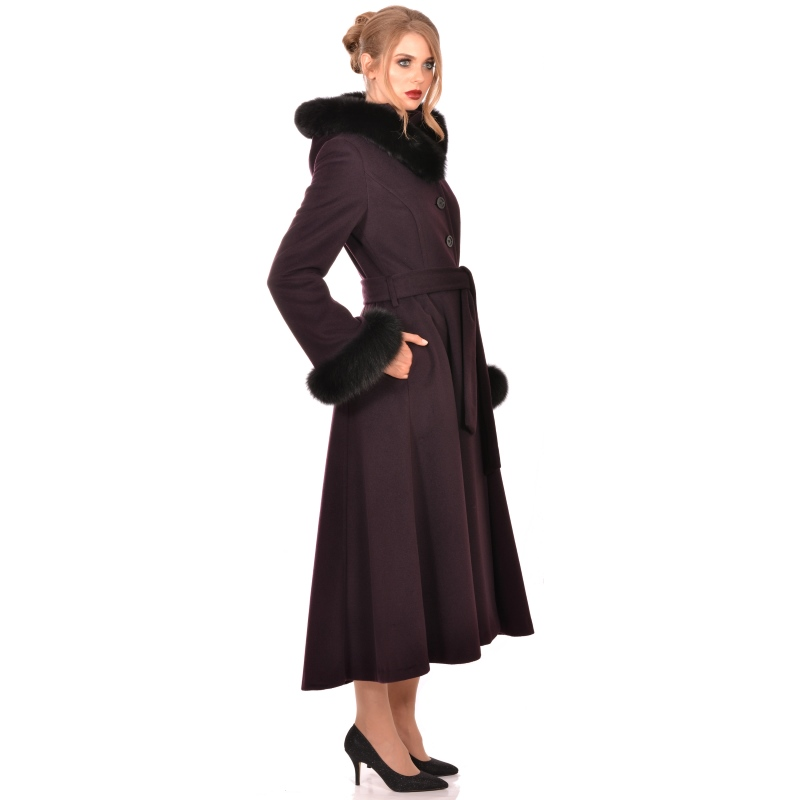 Womens long coat with hood wool and cashmere - Lady M Marija modna odjeća - Maria Fashion company - Collection Autumn/Winter 2018-19