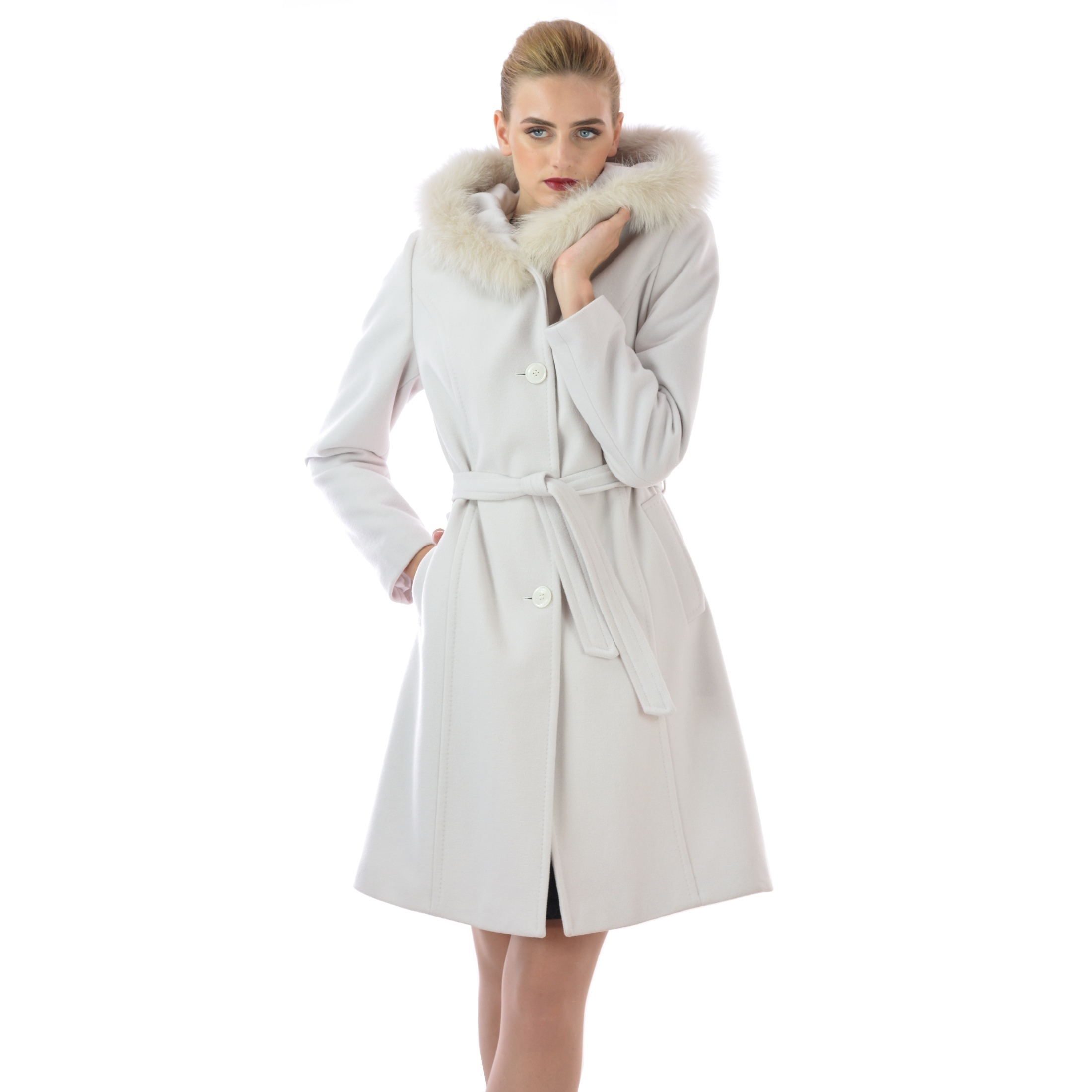 women's coat white wool, bijeli kaput lady m