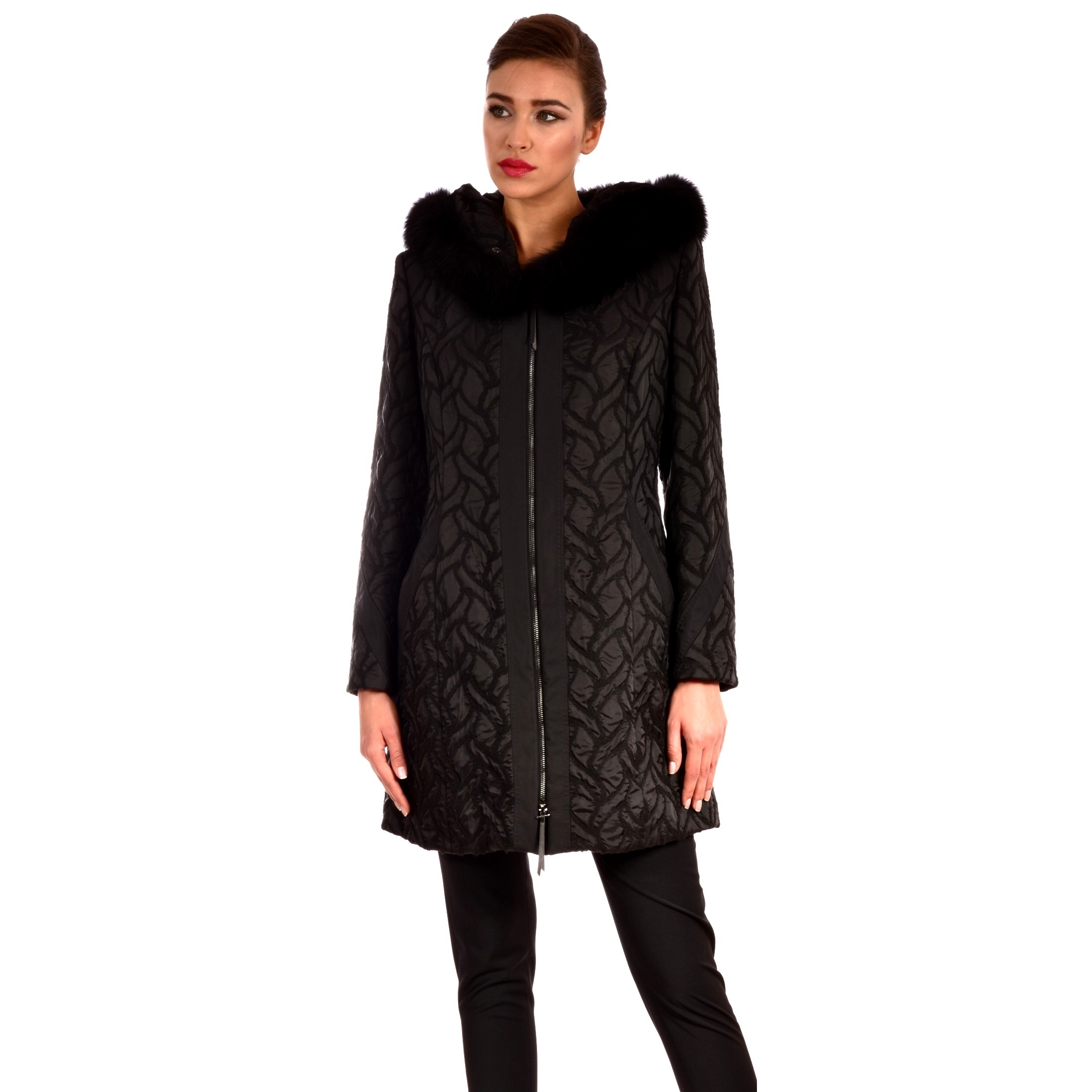 Women's winter jacket with hood and natural fur Lady M by Maria fashion.