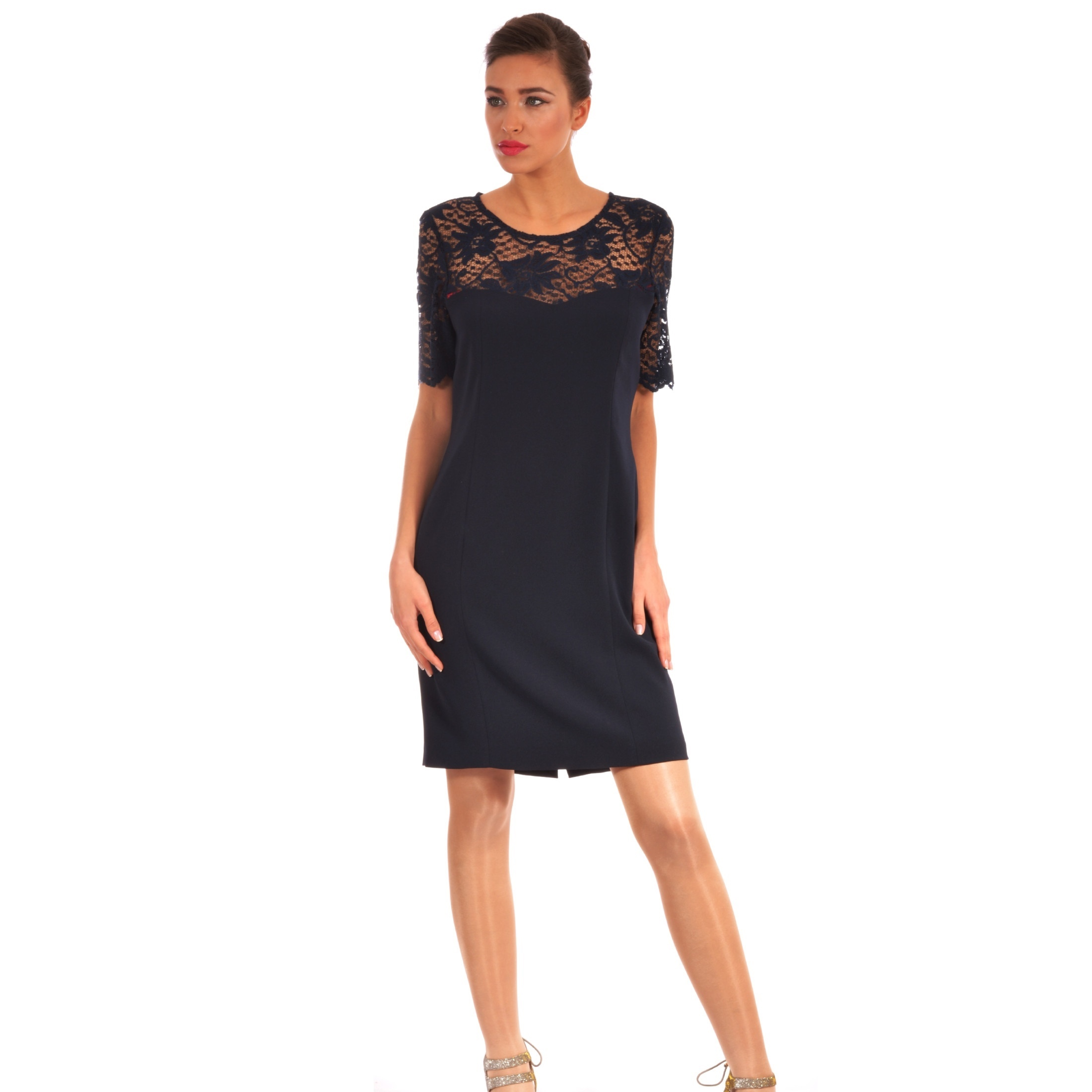 elegant lady m dark blue dress with lace, elegantna tamno plava haljina sa čipkom