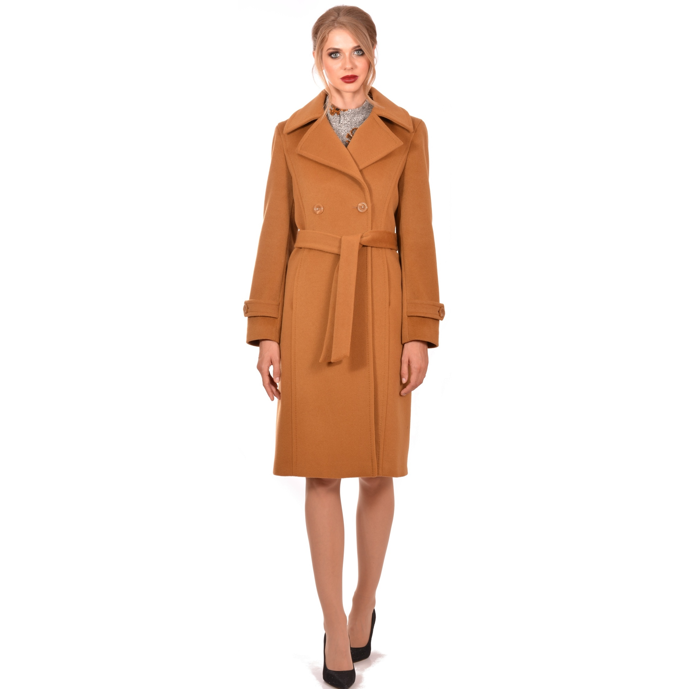 women's camel knee-long coat lady m wool cashmere, ženski kaput lady m do camel do koljena